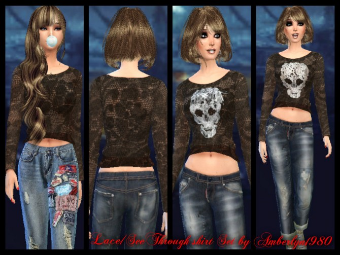Sims 4 Lace Top with & without skull at Amberlyn Designs