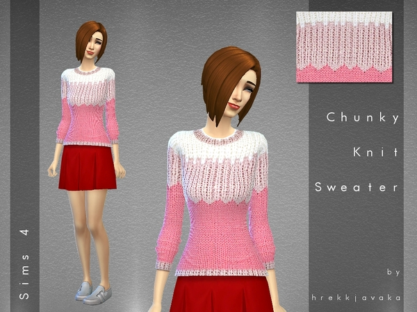 Sims 4 Chunky Knit Sweater by hrekkjavaka at TSR