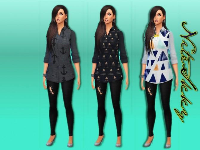 Printed Long Shirts At Niteskky Sims 187 Sims 4 Updates