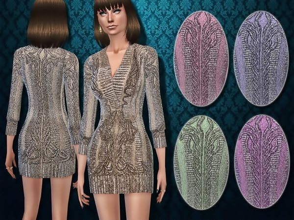 Sims 4 Deco inspired Metallic Sweater Dress by Harmonia at TSR
