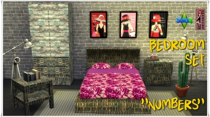 Sims 4 Numbers Bedroom Set at Annett's Sims 4 Welt