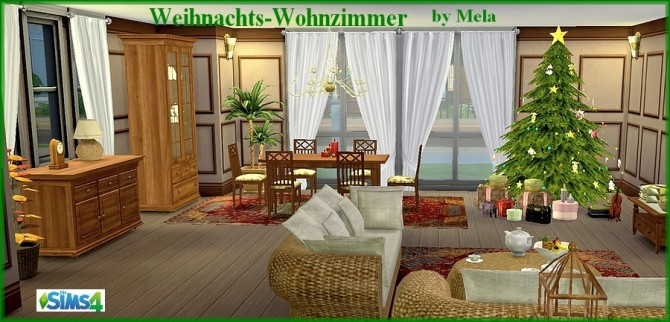Sims 4 Santa Claus gift: Christmas living room by melaschroeder at All 4 Sims