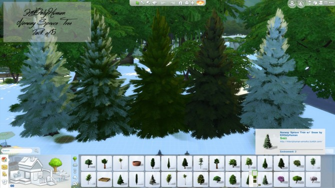 Sims 4 Norway Spruce Tree Pack of 5 at KitOnlyHuman