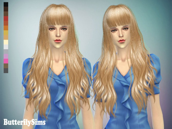 Long wavy with bangs hair 049 (Pay) at Butterfly Sims image 7014 Sims 4 Updates