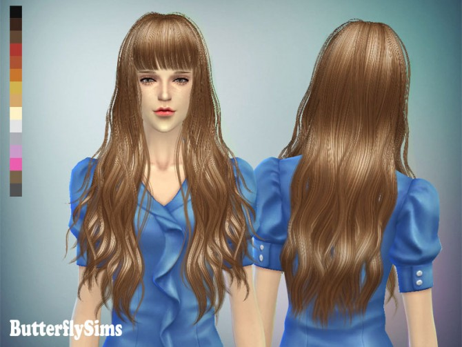 Long wavy with bangs hair 049 (Pay) at Butterfly Sims image 7118 Sims 4 Updates