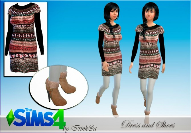 Sims 4 Winter Dress and shoes at Irink@a