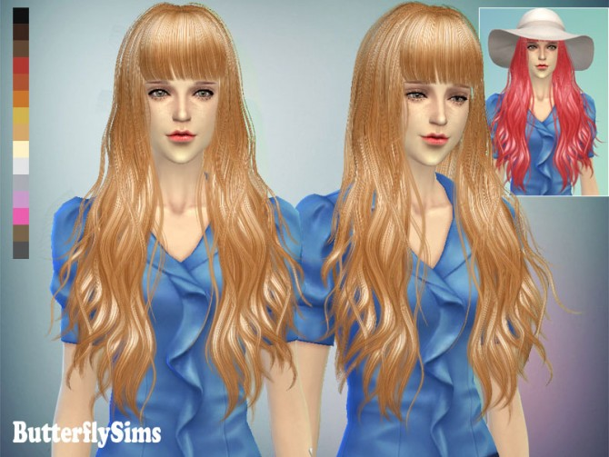 Long wavy with bangs hair 049 (Pay) at Butterfly Sims image 7216 Sims 4 Updates