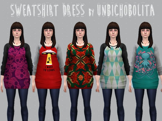 Sims 4 Sweeshirt dress at Un bichobolita