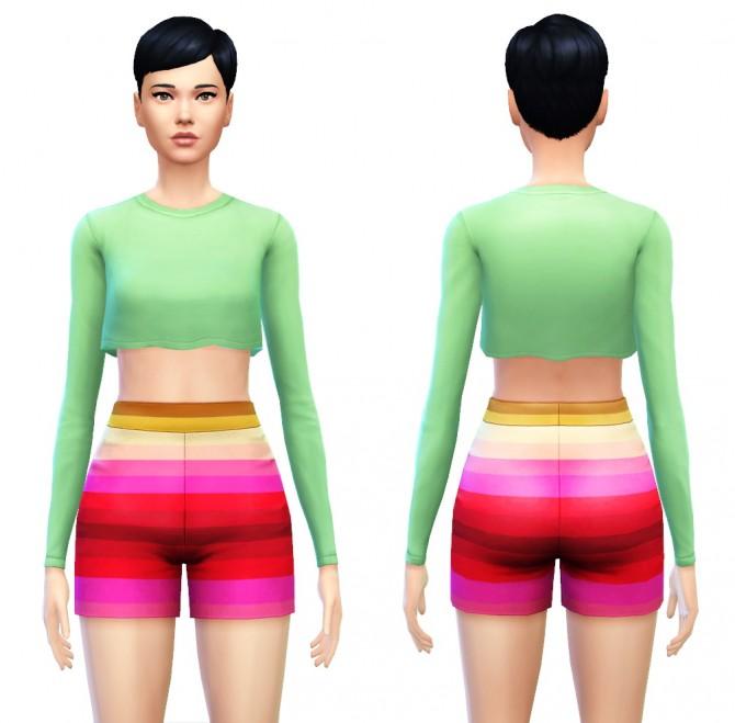 Cropped Top Shirt with Long Sleeves at Sim4ny image 77151 Sims 4 Updates
