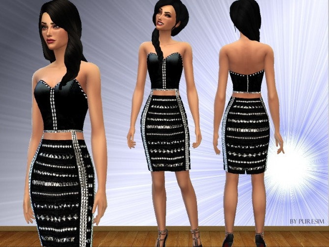 Black studded dress at Puresim image 778 Sims 4 Updates