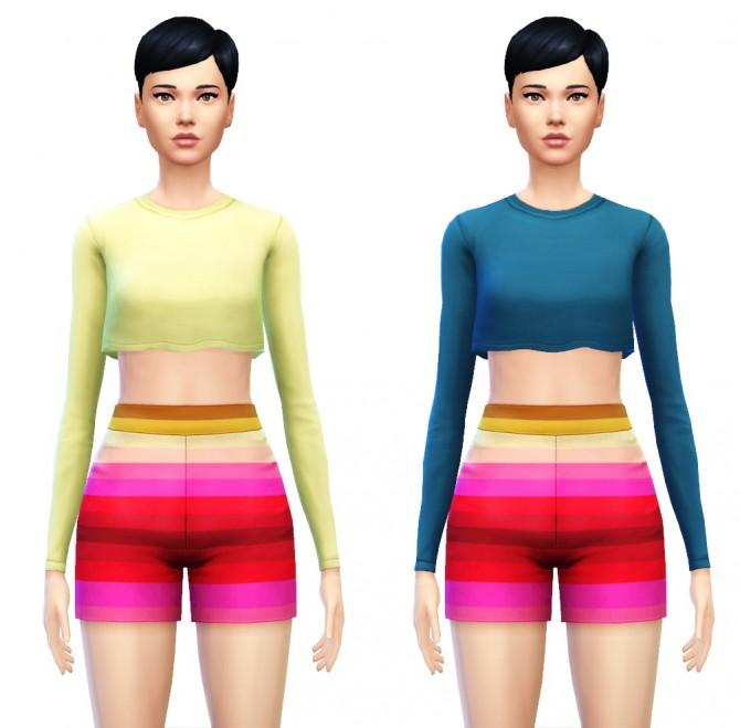 Cropped Top Shirt with Long Sleeves at Sim4ny image 8015 Sims 4 Updates