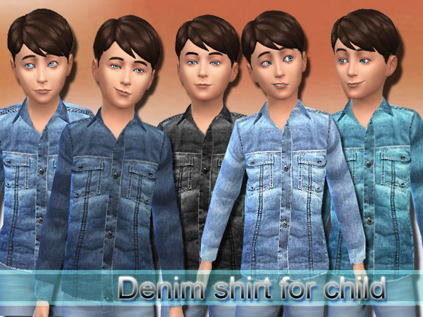 Denim shirt for child by Pinkzombiecupcakes at TSR image 829 Sims 4 Updates
