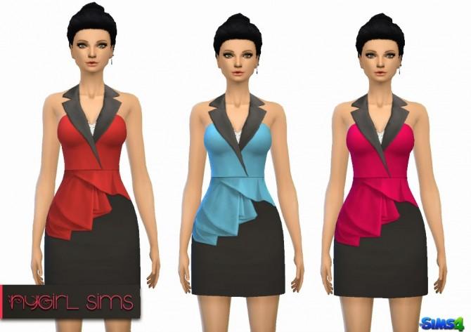 Sims 4 Sleeveless Asymmetric Peplum Dress at NyGirl Sims