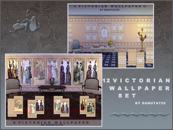 Sims 4 Victorian wallpaper set by Danuta720 at TSR