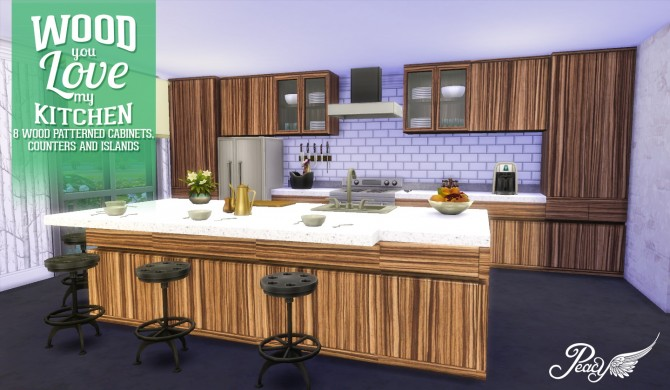 Wood you love my kitchen at simsational designs sims 4 for Sims 4 kitchen designs