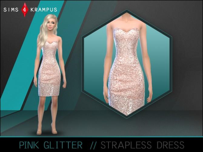 Sims 4 Pink glitter dress at Sims 4 Krampus