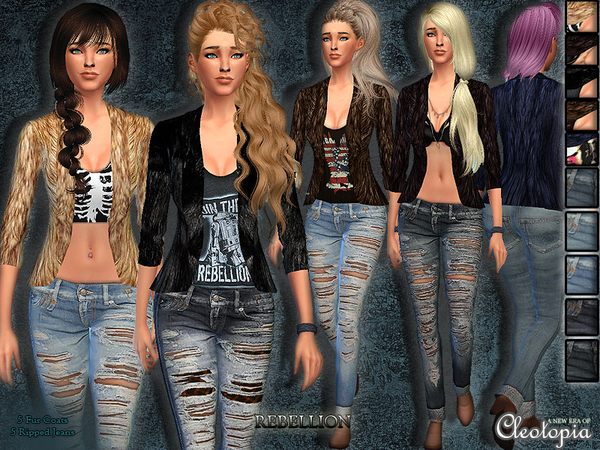 Sims 4 Rebellion Casual Set by Cleotopia at TSR