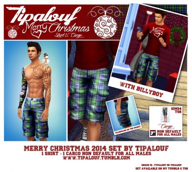 Sims 4 MERRY CHRISTMAS 2014 SET (1 Shirt + 1 Cargo shorts) at Tipalouf