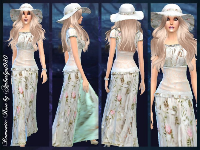Romantic Rose skirt, top and hat at Amberlyn Designs image 982 Sims 4 Updates