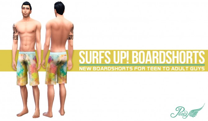 Sims 4 Surfs Up! Boardshorts by Peacemaker IC at Simsational Designs
