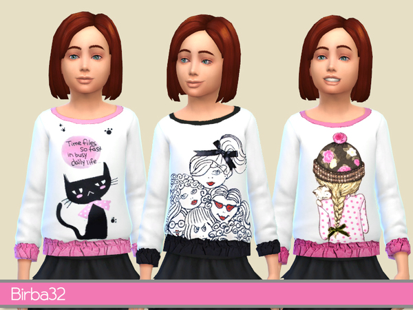 Sims 4 Pullover for girls by Birba32 at TSR
