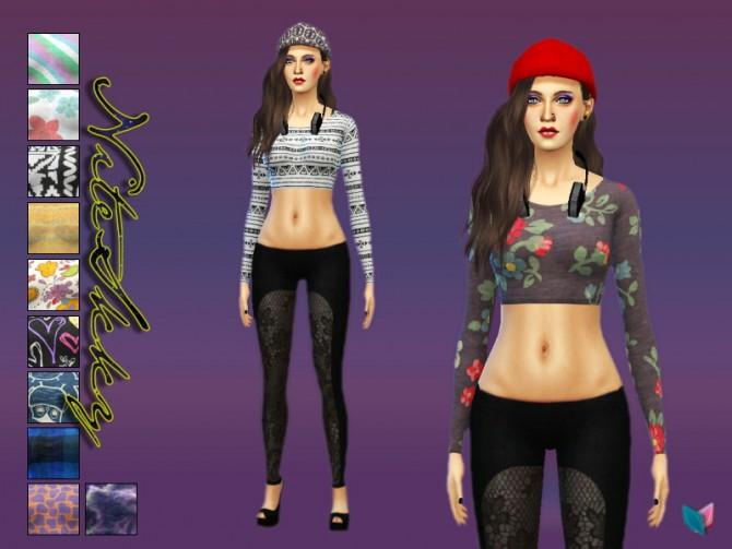 Sims 4 12 long sleeve crop tops at NiteSkky Sims