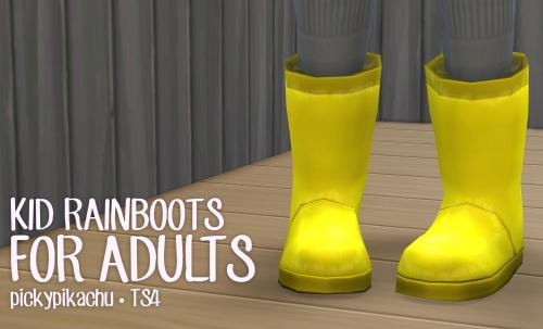 Sims 4 Kids rainboots at Pickypikachu