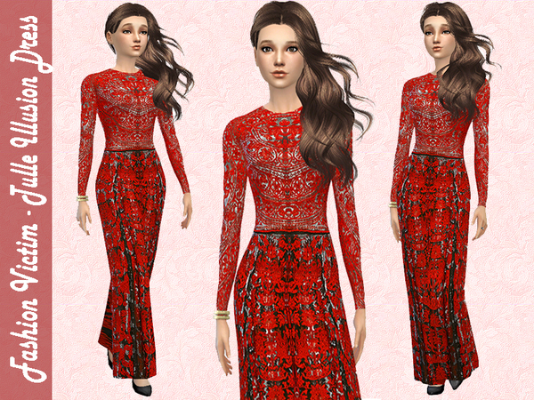 Sims 4 Tulle Illusion Dress by Fashion Victim at TSR