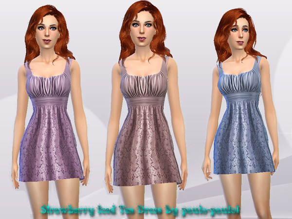 Sims 4 Strawberry Iced Tea Dress by paulo paulol at TSR