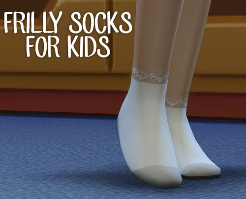 Sims 4 Frilly White Socks for kids at Pickypikachu