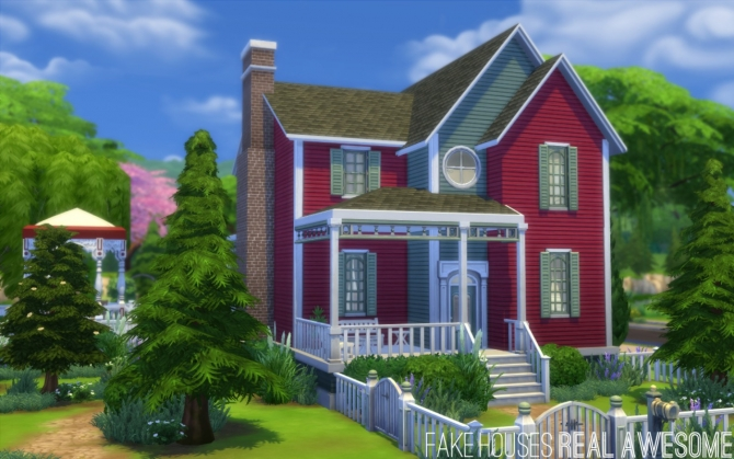 Sims 4 CC free version of Hollyside house at Fake Houses Real Awesome