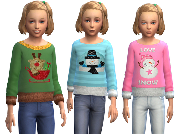 Oversized Top with Holiday Appliques by Weeky at TSR image 12101 Sims 4 Updates