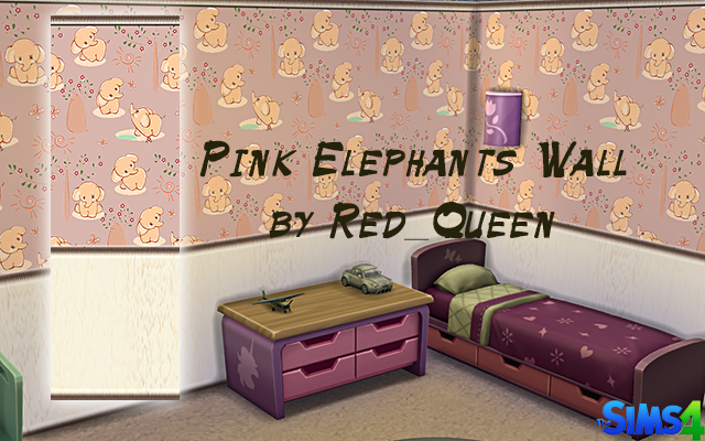 Pink Elephants Wall by Red Queen at ihelensims image 1243 Sims 4 Updates
