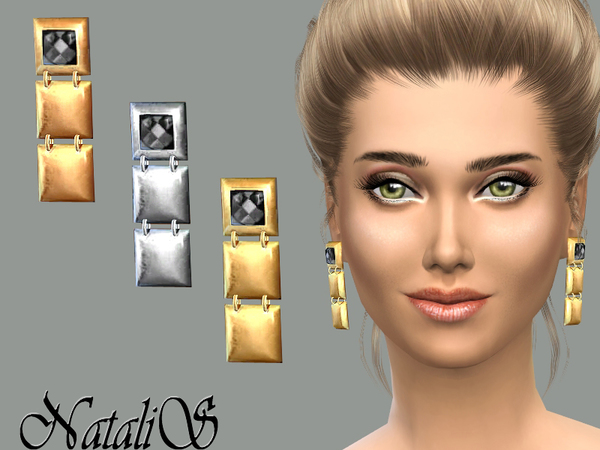 Squares Drop Earrings by NataliS at TSR image 12812 Sims 4 Updates