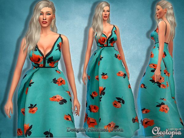 Sims 4 Designer Pattern Red Carpet Gown by Cleotopia at TSR