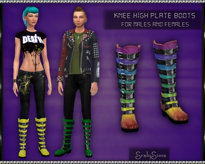 Knee High Plate Boots at SrslySims image 13515 Sims 4 Updates