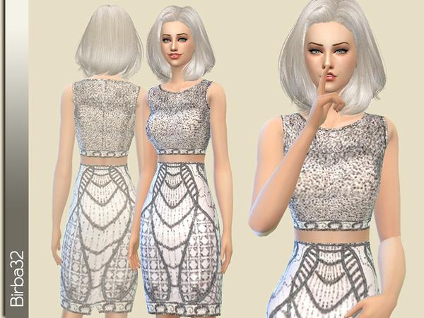 Sims 4 Shining silver dress by Birba32 at TSR
