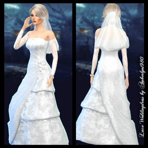 Lace wedding gown with sleeves at amberlyn designs sims for Wedding dress with swag sleeves