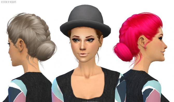 Sims 4 Newsea Agnes hair retexture at Nessa Sims