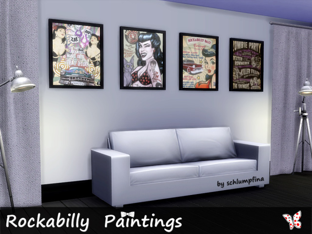 Sims 4 Rockabilly Paintings by schlumpfina at My Fabulous Sims