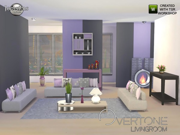 Overtone living room by jomsims at tsr sims 4 updates for Living room sims 4