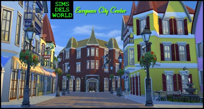Sims 4 European City Center at SimsDelsWorld