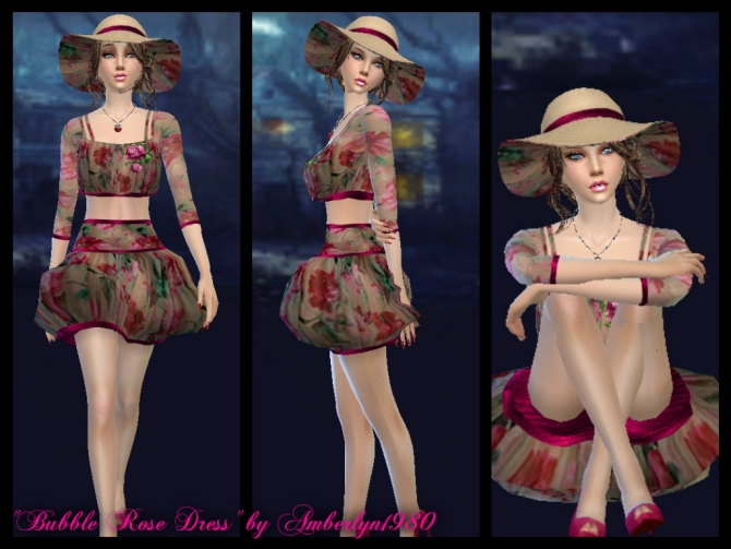 Sims 4 Bubble Rose Dress & Hat at Amberlyn Designs