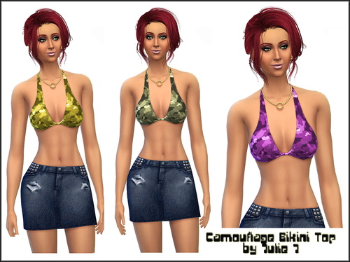 Sims 4 Camouflage Top by Julie J at Julie J