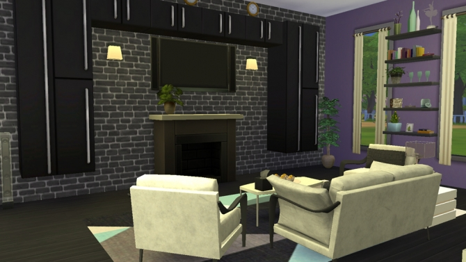 Modern spectrum livingroom at the stories sims tell sims for Living room sims 4