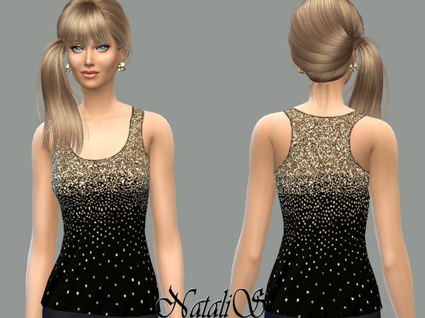 Sims 4 Sequin tank top by NataliS at TSR