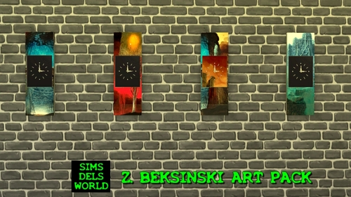Sims 4 Beksiński paints and clocks at SimsDelsWorld