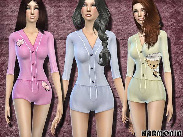 Sims 4 Sleepover Stretch jersey Playsuit by Harmonia at TSR
