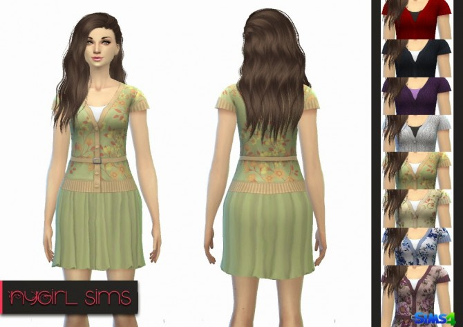 Sims 4 Dress with Belted Sweater at NyGirl Sims