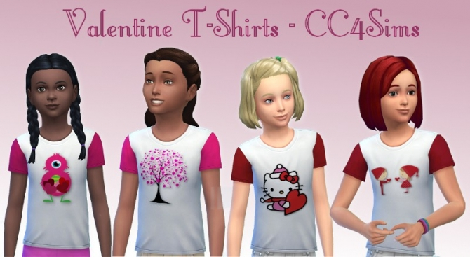 Valentine t shirts for kids at CC4Sims image 17513 Sims 4 Updates